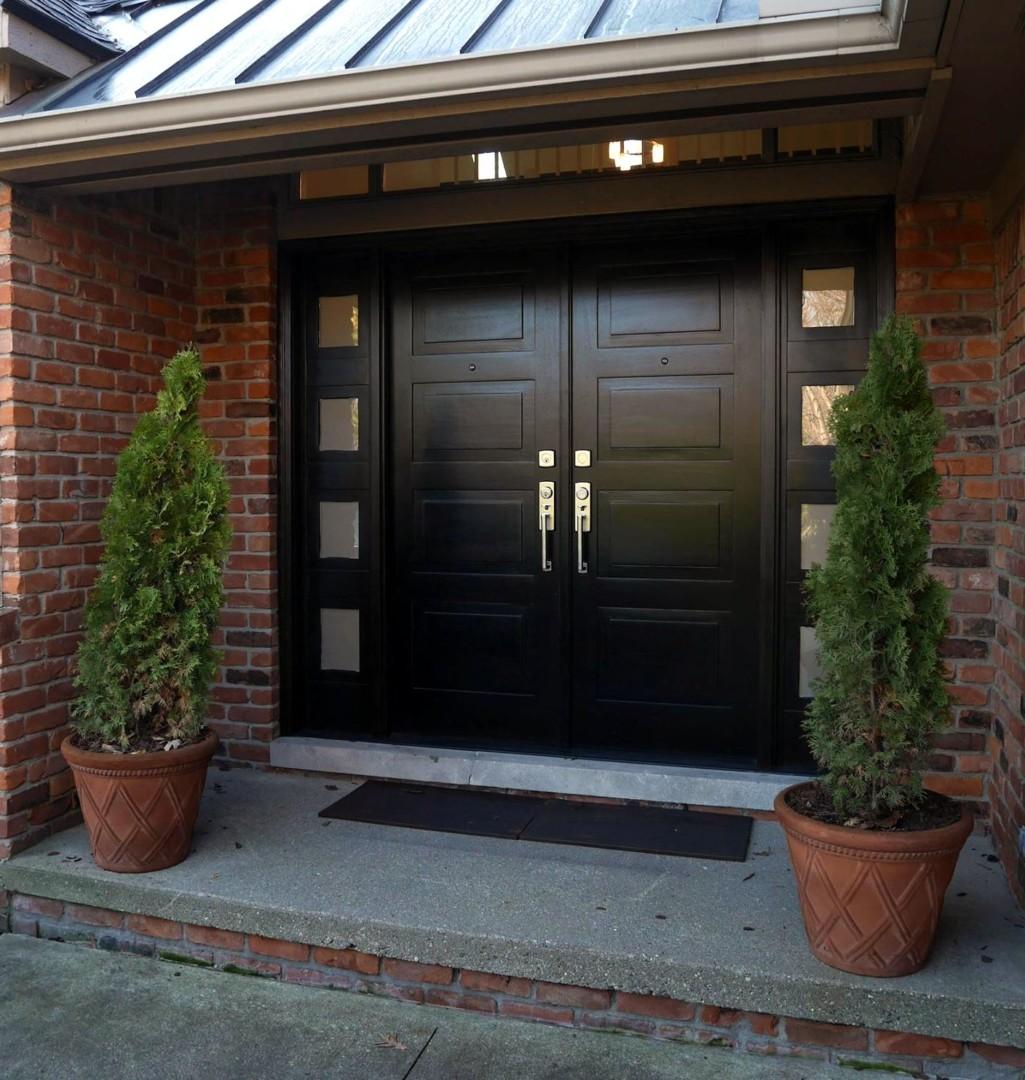 Modern Front Entry Door in African Mahogany MidCentury Design