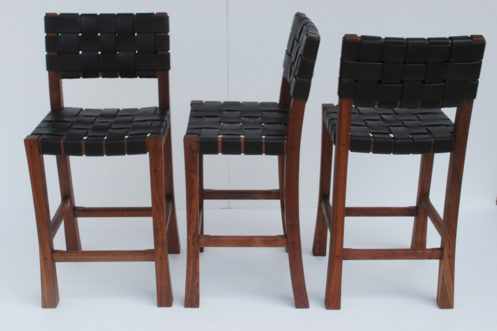 Walnut & Bridle Leather Bar Stools