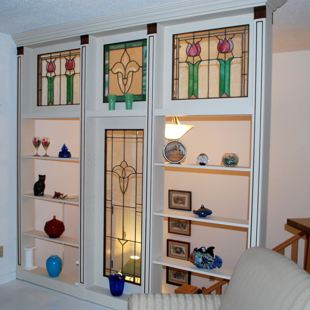 Painted room divider featuring stain glass windows