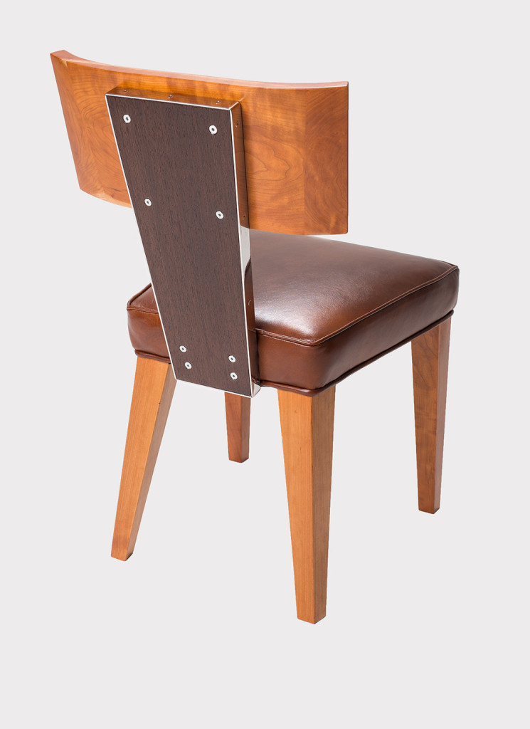Chair Model No.DRB15 in Cherry, Wenge & Stainless Steel