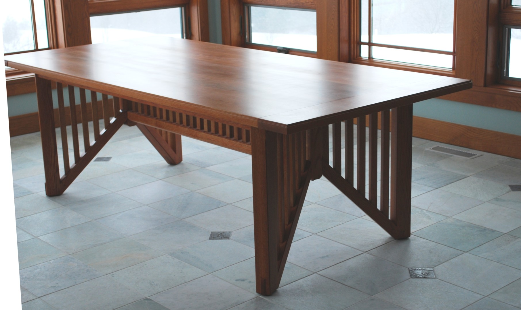 Wright Oak Dining Table In The Style Of Frank Lloyd Wright